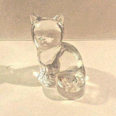 Small Clear Glass Cat figurine