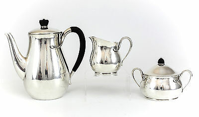 3pc Evald Nielsen Silver Coffee Service Set Wood Handle, Beaded, Modernist c1940