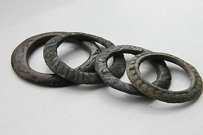 Celtic Period Bronze Groop of 4 Decorated Proto Coins, Ring Money 600-400 BC • CAD $199.99