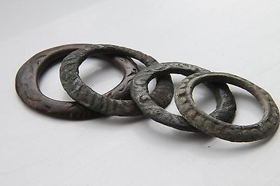 Celtic Period Bronze Groop of 4 Decorated Proto Coins, Ring Money 600-400 BC