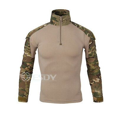 Men Camo Camouflage Shirts Long Sleeve Outdoor Sports Tactical Army Hunt Tops
