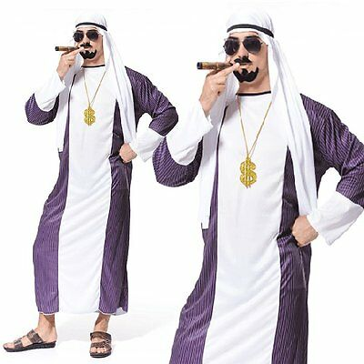 Dubai Gangster Adult Arabian Night Sultan Arab Sheik Mens Fancy Dress Up Costume