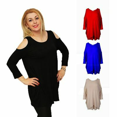 Loose fitting oversized top with open shoulders - PLUS SIZES TOO