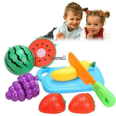 Pretend Role Play Kitchen Fruit Vegetable Food Toy Cutting Set Child Gift LM