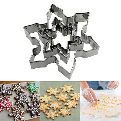 New 3Pcs Stainless Steel Star Snowflake Biscuit Cutter Cookie Fondant Cake Mould