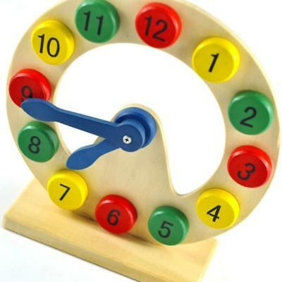 Wooden Clock Preschool Kids Children Learning Time Numbers Educational Toy