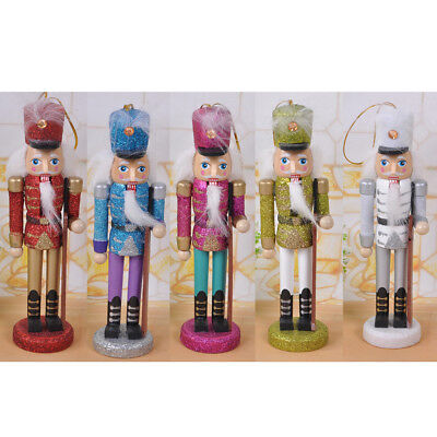 """5 Handpainted Wooden Nutcracker Toy Solider Christmas Decoration Ornament 6"""""""
