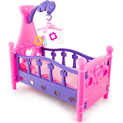 Bed Cradle For Dolls Furniture With Carousel Bedclothes Pink and Purple KP2455