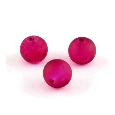 Strand 135+ Dark Pink Glass 6mm Frosted Plain Round Beads Y04810