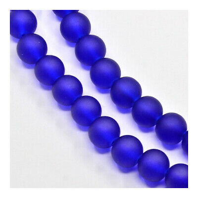 Strand 100+ Blue Glass 8mm Frosted Plain Round Beads Y04820