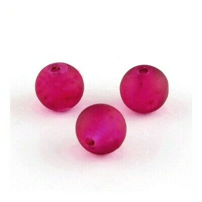 Strand 100+ Dark Pink Glass 8mm Frosted Plain Round Beads Y04835