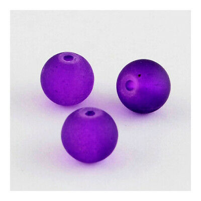 Glass Round Beads 8mm Purple 100+ Pcs Frosted Art Hobby Jewellery Making Crafts