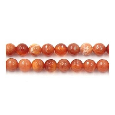 Strand of 60+ Red Fire Agate 6mm Faceted Round Beads Y04970