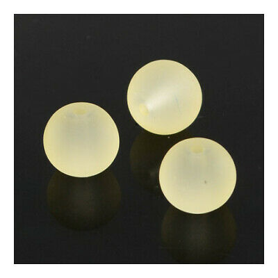 Strand 100+ Yellow Glass 8mm Frosted Plain Round Beads Y05040