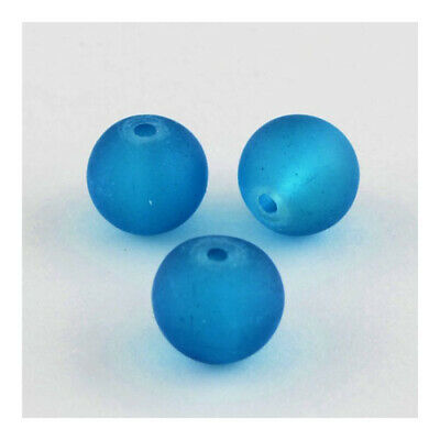 Glass Round Beads 8mm Teal Blue 100+ Pcs Frosted Art Hobby DIY Jewellery Making