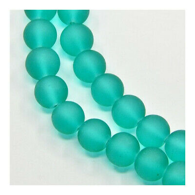 Strand of 195+ Teal Green Glass 4mm Frosted Round Beads Y05105