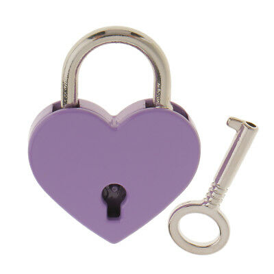 Heart Shaped Padlock Jewelry Boxes Lock Perfect for Valentine Gift Purple M