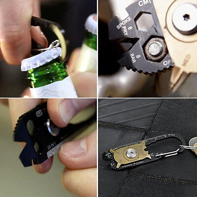 Ideal Edc Keychain 20-In-1 Pocket Multi Tool Bottle Opener Wrench Screwdriver