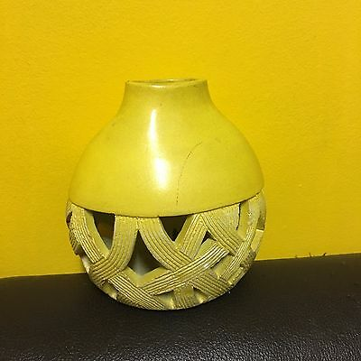 vintage retro martinvale bright  yellow pottery vase made in philipines