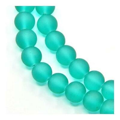Strand 100+ Teal Green Glass 8mm Frosted Plain Round Beads Y05270