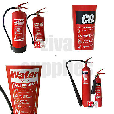 (C02 & WATER) Fire Extinguisher *WITH SIGN* For Warehouses Homes Work Van Garage