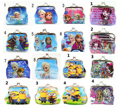 New Monsterhigh Frozen Minions Coin Purses Girls Boys Kids Wallet Birthday Gifts