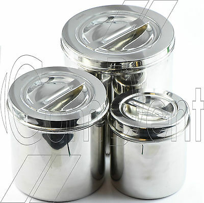 Stainless Steel Surgical Dressing Cotton Jar With Lid Vet Surgical Jar CE