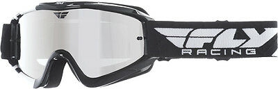 FLY RACING MX Motocross Kids Zone Goggles (Black/White Chrome/Smoke Lens) Youth