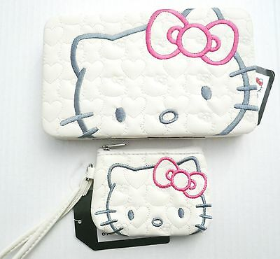 Hello Kitty Official Sanrio Clutch Bag Purse Coin Quilted Pink Bow Kawaii Anime