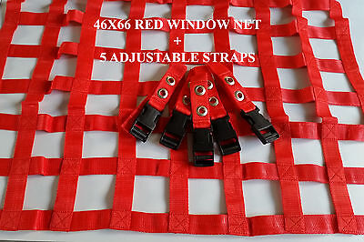 46X66CM RED WINDOW NET Rally Racing Safety Acce Motorsport RIBBON BORDER NETSTRA