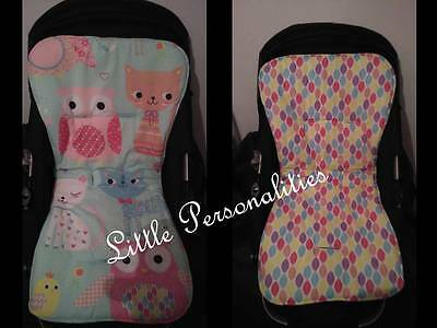 turquoise pink white cat owl reversible stay put universal pram buggy liner