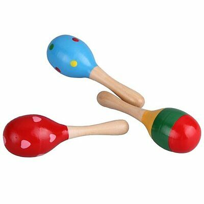 H1 2 Wooden Wood Maraca Rattles Shaker Percussion kid Baby Musical Toy
