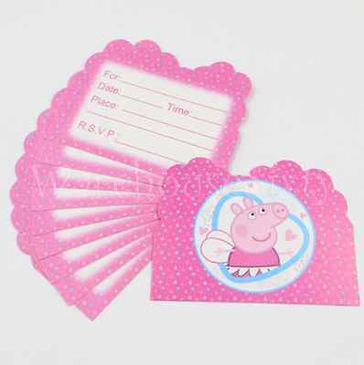 10 x Peppa Pig Birthday Invitation Cards. Party Supplies .** AUS STOCK **