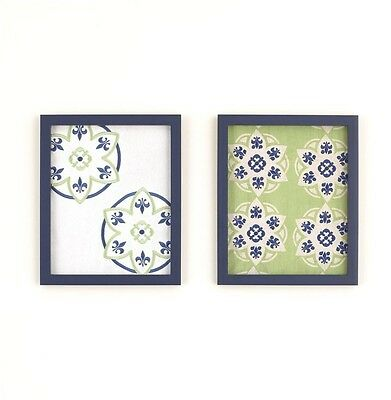 CoCaLo Moss 2-Piece Wall Art - Embroidered Green Blue Ivory - Modern Chic Decor