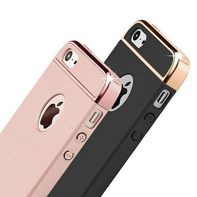 For iPhone5S SE Case Chrome Hard Bumper Shockproof Full Cover Acrylic Cover Skin
