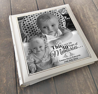 Personalised large luxury guest book photo album, 50th Birthday memory book gift
