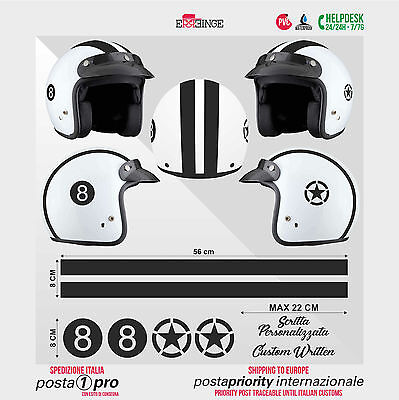 Kit NERO 8 Stella Strisce STICKER CASCO ADESIVO DECAL MOTO SCOOTER HELMET