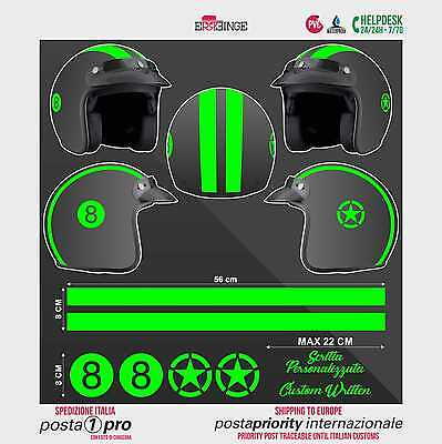 Kit VERDE FLUO 8 Stella Strisce STICKER CASCO ADESIVO DECAL MOTO SCOOTER HELMET