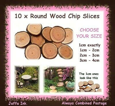 10 x round wood slices chips with bark - fairy garden stepping stones terrarium
