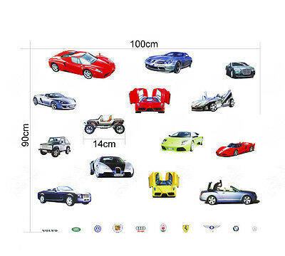 Sports 3D Racing Cars Wall Sticker Decal Home Decor Vinyl Removeable Kids Room