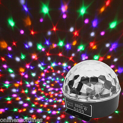 Music Control Crystal Ball 6 Color LED Stage Lighting Club Disco DJ Party Bar UK