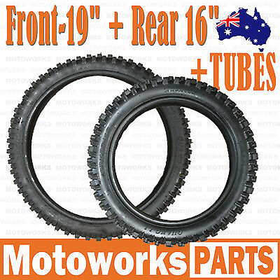 """70/100 - 19"""" Front 90/100 - 16"""" inch Rear Tyre Tire + Tube PIT PRO Dirt bike"""