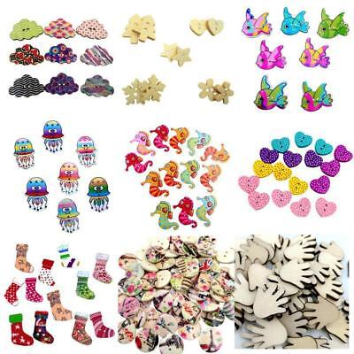Mixed Animal Wooden Buttons Sewing Scrapbooking Xmas Embellishment Craft 2-Holes