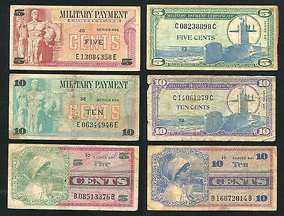 MPC US Military Payment Certificate 3x 5cents , 3x 10cents series 661 681 692