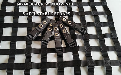 60X60CM BLACK WINDOW NET Rally Racing Safety Acce Motorsport RIBBON BORDER NET