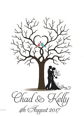 Fingerprint Tree Alternative Wedding Guest Book with Ink Pad- Personalized