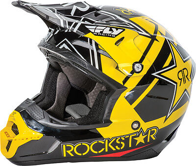 FLY RACING Offroad MTB BMX KINETIC PRO Rockstar Helmet (Blk/Yellow) Choose Size