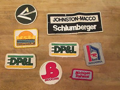 Vintage Lot 8 Patches IP Macco Schlumberger Trailways DP&L Rossignol Brookshires