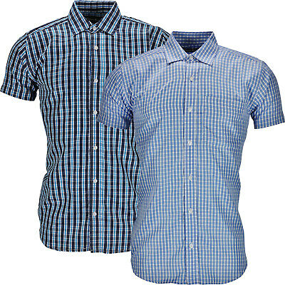 New Mens Check Shirt Button Up Short Sleeve Checked Top Casual Summer Luxury