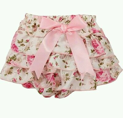 Baby Girls Frilly Floral Knickers Bloomers Boutique Cake Smash wedding Bow UK
